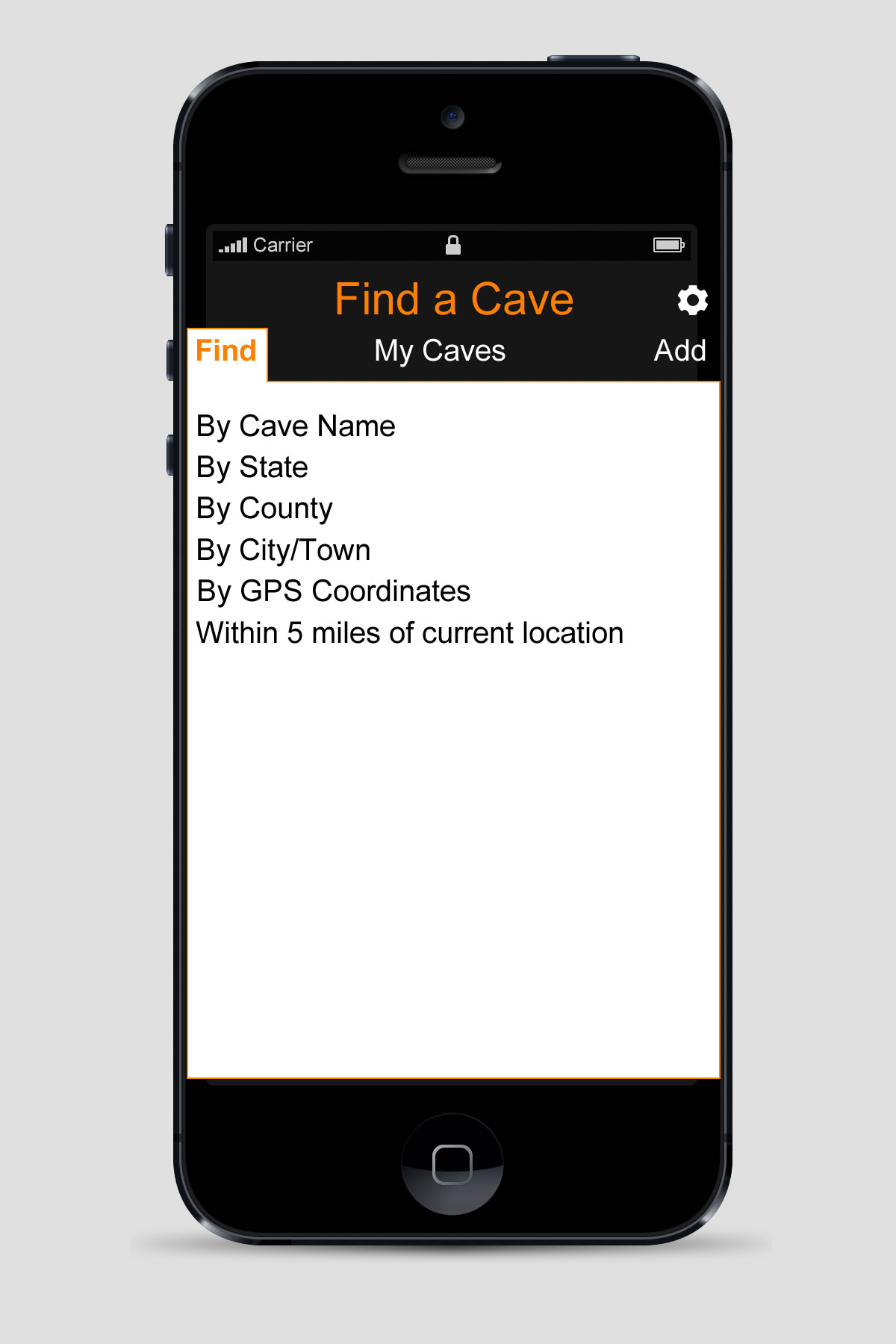 Find a Cave mobile application
